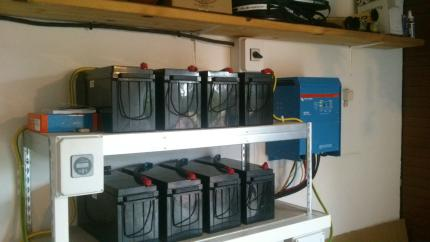 Backup system with inverter and batteries