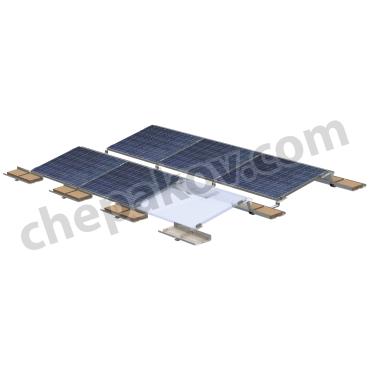 Безпробивна метална конструкция за монтаж соларни панели върху плосък покрив с насочване панелите на юг