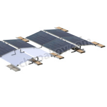 Racks for mounting east-west-oriented frame solar panels on flat roofs