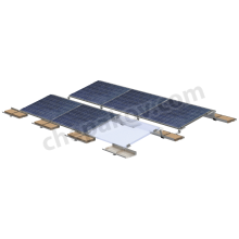 Racks for mounting framed solar panels on flat roofs with 5°, 10° and 15° mounting tilts